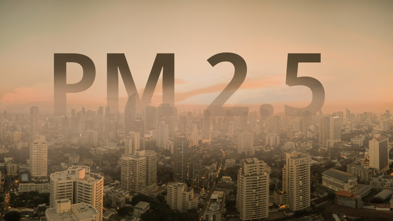 Smog city from PM 2.5 dust. Cityscape with bad air pollution. PM 2.5 concept